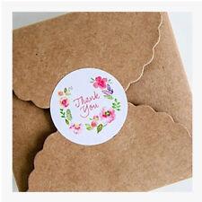 100Pcs Round Thank You Flower Design Box Decor Paper Labels Seals Stickers Glitz