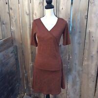 Prana Nadia Wool Blend Faux Wrap Stretch Vneck Dress Womens Small