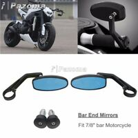 "Pair Universal CNC Motorcycle 7/8"" 22mm Handle Bar End Side Rear View Mirrors"