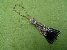 pompon en perles doré irisé et noir N°15 B
