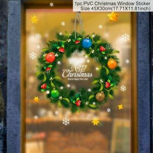 Merry Christmas Wall Window Stickers New Year Decoration For Home Ornaments