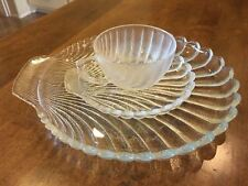 Clear Ribbed Textured Thick Glass Shell Vintage Dish with Coffee Cup and Saucer