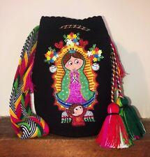 Authentic 100% Wayuu Mochila Colombian Bag Luxury Our Lady Of Guadalupe Cartoon