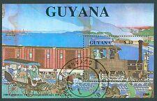 Guyana Block 32 Erste Eisenbahn Japans gestempelt