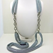 Adami and Martucci Silver Mesh Long Necklace with Silver Links