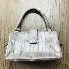 Womens Handbag Gray Eel Skin Snap Button Zip Dual Handle Phone Pocket Vintage S