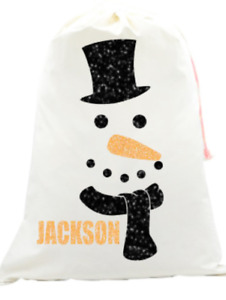 Personalised kids your name Christmas glitter snowman face Santa sack sparkle