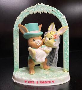"""Vtg Plastic Bunny Bride & Groom Wedding Cake Topper Figurine """"LOVE IS FOREVER"""""""