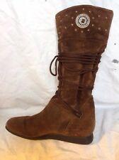 Dune Dark Brown Mid Calf Suede Boots Size 5