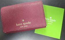 NWT KATE SPADE MIKAS POND CHRISTINE SMALL LEATHER MINI WALLET MAROON COLOR