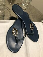 Gucci Blue Leather Thong Sandals With Gg Logo Shoes 38, 8