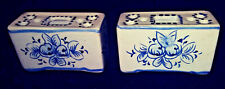 2 TINY Flower Frog Vases S.A. Leart  ELPA Alcobaca Portugal blue and white #602