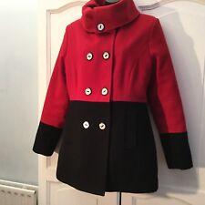 Max Mara 100% Wool Red And Black Short Coat Size 12-14