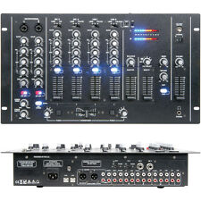 4 Channel – 17 input PA/DJ Mixer-USB/VCA Crossfader-Microphone Override Rack AUX