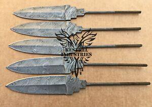Lot of 5 Handmade Damascus Steel Blank Blade Knife for Knife Making Supplies