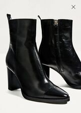 NWT ZARA Black Leather High Heel Ankle Pointy Toe Boots Sz 8/39 6100/101