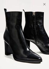NWT ZARA Black Leather High Heel Ankle Pointy Toe Boots Sz 7.5/38  6100/101