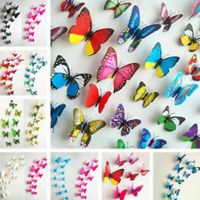 12Pcs 3D Butterfly Magnet Wall Sticker Multicolor DIY Fridge Home Party Decor AA