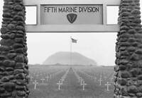 OLD LARGE MILITARY PHOTO, WWII Battle Iwo Jima, Fifth Marine Division Cemetery