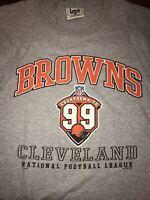 NFL CLEVELAND BROWNS T Shirt By LEE SPORT Large VINTAGE 1997 Grey W/ Orange