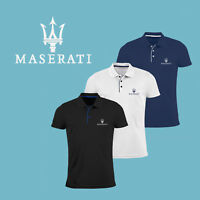 Maserati Slim Fit Polo T Shirt EMBROIDERED Auto Car Logo Tee Mens Clothing Gift