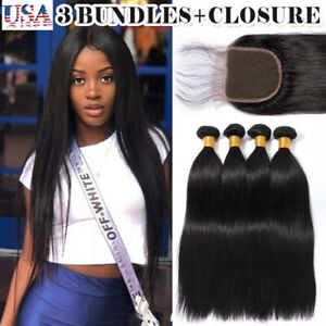3 Bundles With Lace Closure Malaysian Virgin Human Hair Extensions Free Part 4*4