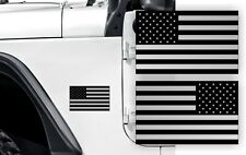 Silver American Flag Fender Stickers / Body Hood Fender Decals Labels Emblems