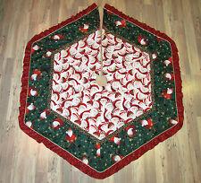 "Santa w/ Leopard Skin Hat Christmas Fabric Handmade Finished Tree Skirt  58""x66"""