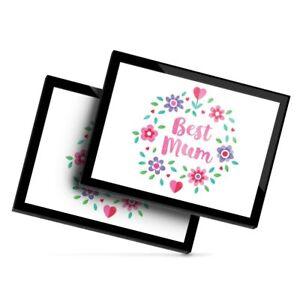 2x Glass Placemats 20x25 cm - Best Mum Mother Mummy Flowers  #44275
