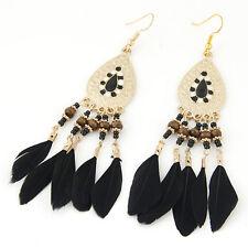 BLACK DROP ETHNIC BEAD FEATHER CHANDELIER COACHELLA HIPPY EXOTIC BOHO EARRINGS