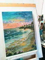 "Art,oil painting16""/12""coastal sunset.serenity ocean.Landscape, Seascape"
