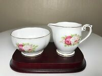 Queen Anne Bone China Creamer & Open Sugar Bowl Set Made In England Roses Gold