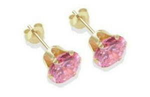 9kt Yellow Gold Pink Sapphire 1.12ct Earring Free Gift box