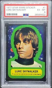 1977 Star Wars Topps Sticker #1 Luke Skywalker PSA 6 EX-MT