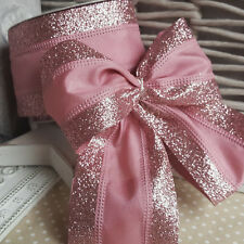 Luxury Wired Pink Glitter Band Christmas Ribbon Cake Xmas Tree Wreath Bow