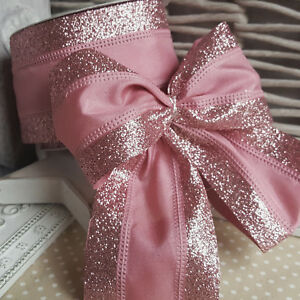 Luxury Wired Pink Glitter Band Christmas Ribbon Cake Xmas Tree Wreath Bow