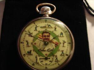 1929 16s Ingraham Pocket Watch Baseball Babe Ruth Theme Dial & Case Runs Well.
