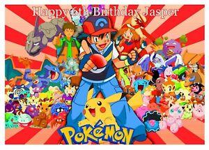 Personalised A4 Pokemon Edible Paper Cake Topper - inc Ash, Pikachu