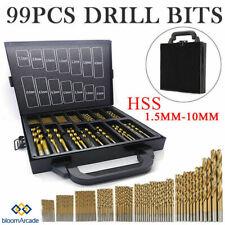 99pcs Drill Bits Titanium Coated Metal HSS Twist Steel Brick Set Case UK Y5