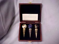 JERE WRIGHT Set of  3 GEMSTONE GLOBES BOTTLE STOPPERS IN BOX FREE SHIP