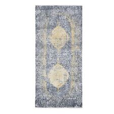 3'x8' Gray-Gold Wool And Pure Silk Runner Hand Knotted Oriental Rug R47801