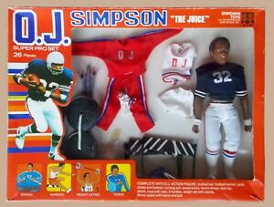 "1975 OJ SIMPSON 10"" shindana football figure MIB -- SUPER PRO SET ""rare variant"""
