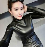 Womens Slim Warm Leather Tops Winter Turtleneck Blouse Top Punk Casual US XXL