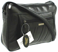 WOMENS DESIGNER GENUINE REAL LEATHER SHOULDER CROSS BODY HAND BAG BLACK 1968