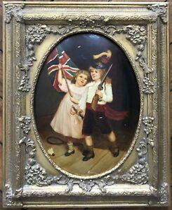Peinture Portrait d'Enfants Jeux Déguisements Militaire Drapeau Anglais Tennis