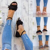3 Colors Women Sandals Summer Buckle Espadrilles Fashion Flat Plus Size Bow
