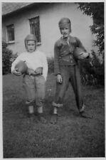 Old Photo 2 Teenage Boys Wearing Football Uniforms Forms Helmets Footballs 1940S