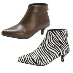 Womens Mid Slim Kitten Heel Ankle Boots Pointy Toe Back Zip Office Work Shoes SZ