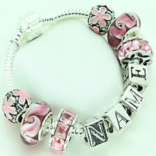 Personalised Jewellery Charm Bracelet Girls Pink Beads Any Name Birthday Gifts