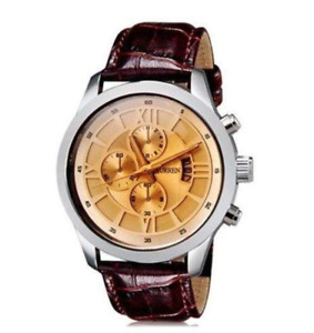 Curren 8137D-1-Brown/Silver/Brown Leather Strap Watch